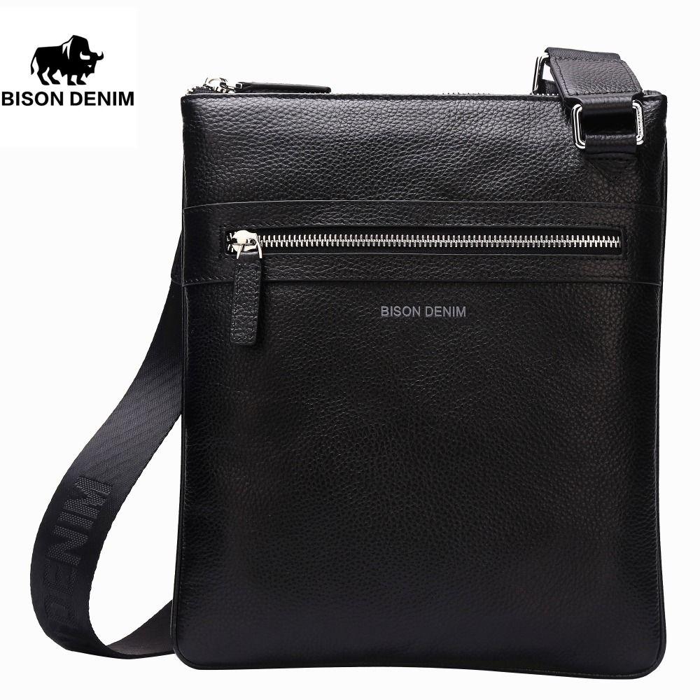 BISON DENIM Brand Genuine Leather Crossbody Bag Men Slim Male Shoulder Bag Business Travel iPad Bag Men Messenger Bags 2424