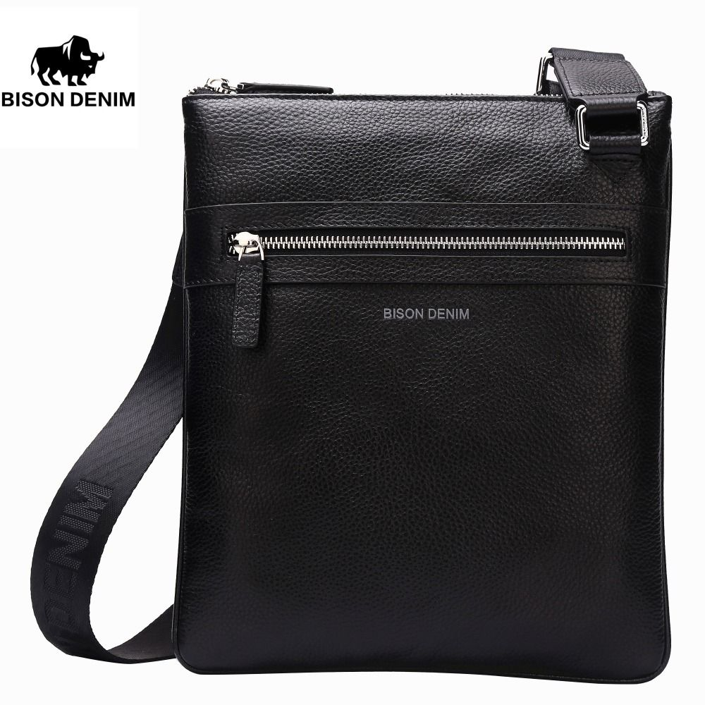BISON DENIM Brand Genuine Leather Crossbody Bag Men Slim Male Shoulder Bag Business Travel iPad Bag Men Messenger Bags 2424