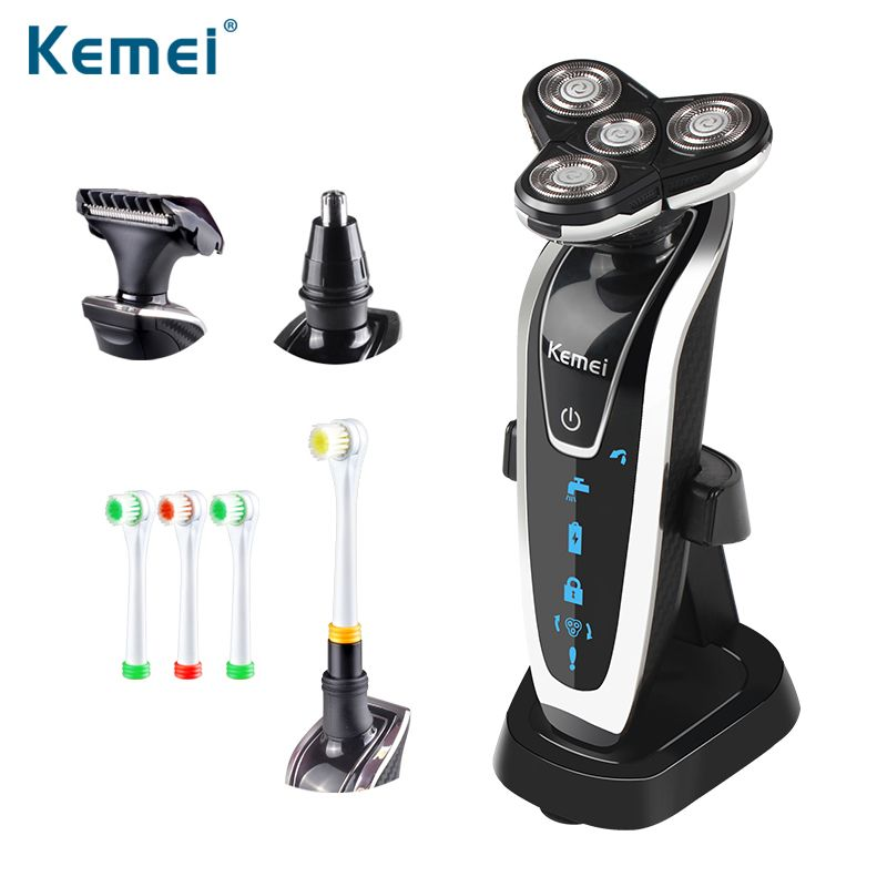 Kemei 4 in 1 3D Floating Rechargeable Electric Shaver 4 Blades Washable Electric Shaving Razors Multifunction Face Care 5181