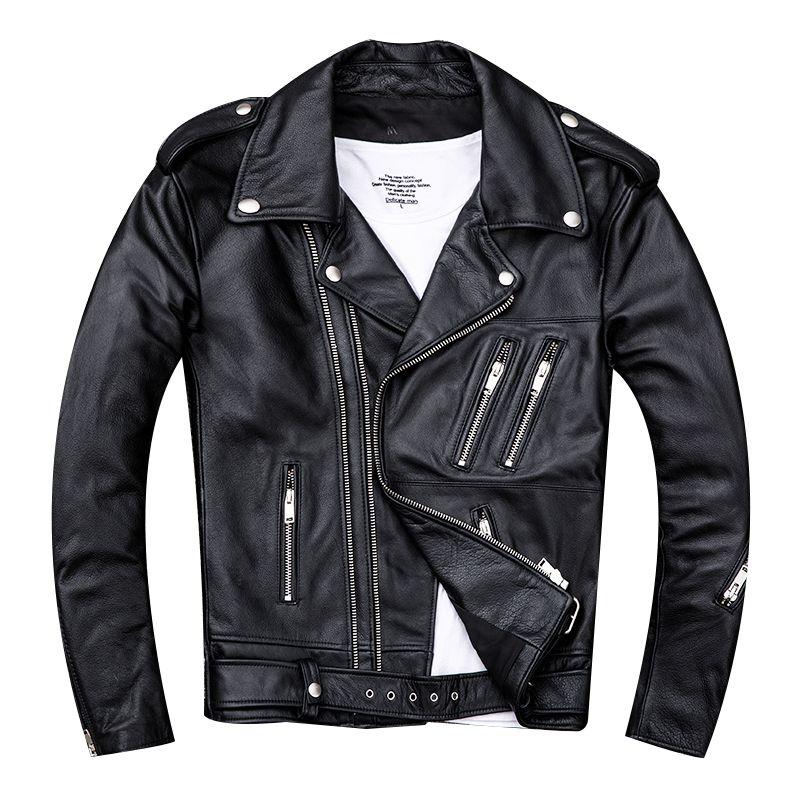 HARLEY ZWETSCHGE Schwarz Männer Doppel-reißverschluss Biker der Leder Jacke Plus Größe XXXX Echtem Dünne Rindsleder Frühling Slim Fit Motorrad mantel