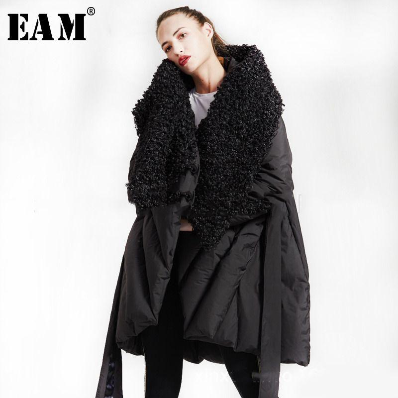 [EAM] 2019 New Spring Full Sleeve Burr Collar Loose Keep Warm Asymmetrical Casual Down Jacket Women Fashion Tide OB415