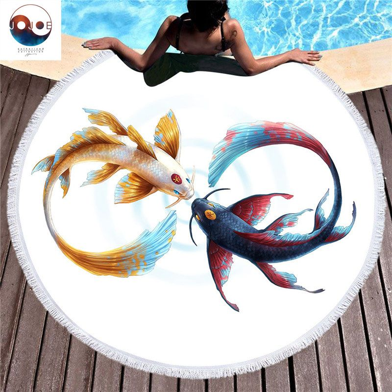 Designer Jojoes Authorized Collection Animal Pattern Round Beach Towel Multicolor Strandlaken Soft and Comfortable Toalla Playa