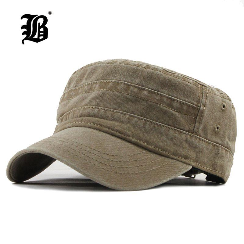 [FLB] 2019 classique Vintage plat haut hommes lavés casquettes et chapeau réglable ajusté plus épais casquette hiver chaud militaire chapeaux pour MenF314
