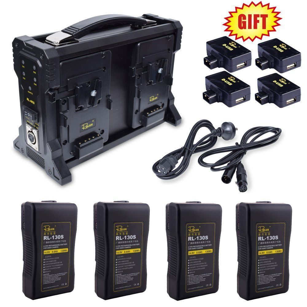 Rolux RL-4KS 4-Channel for Sony V-mount Battery Charger + 4PCS RL-130S Li-ion Battery Kit