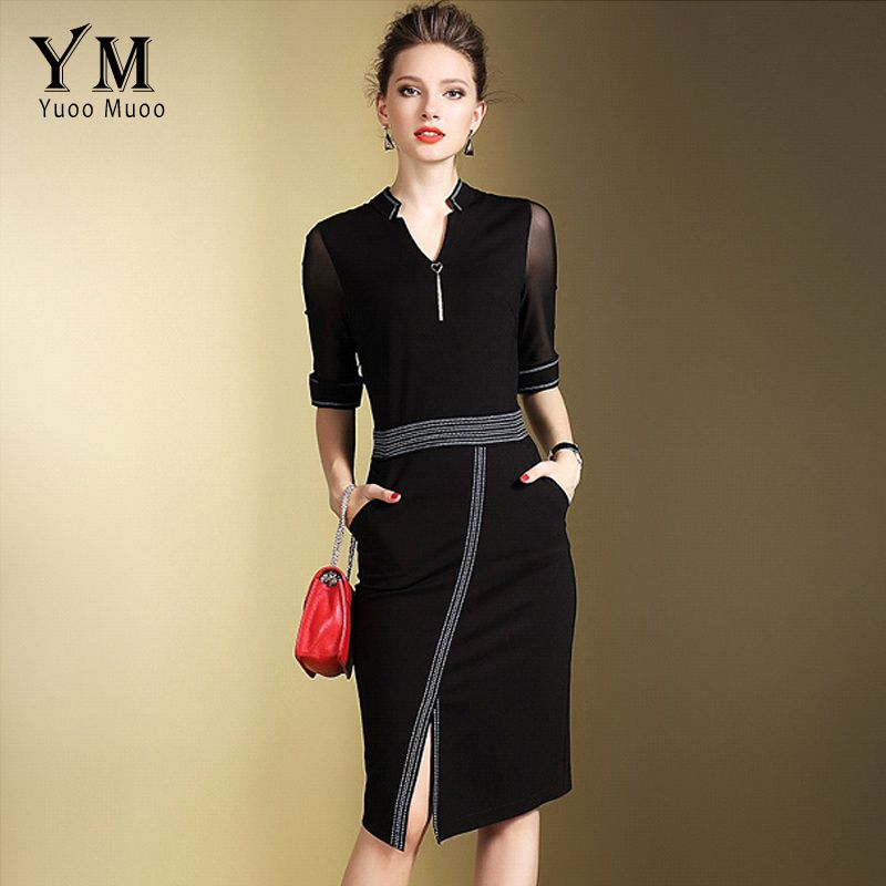 YuooMuoo New Brand Fashion Women Elegant Office Dress Front Split OL Work Dress European Design Black Red Ladies Pencil Dresses