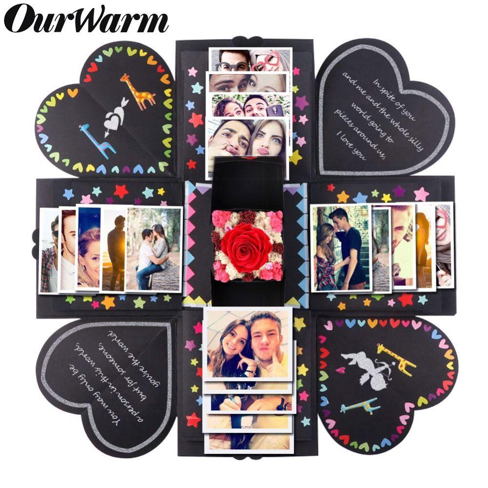 OurWarm valentin bricolage Surprise amour Explosion boîte cadeau Explosion proposer des accessoires Photo Album Scrapbook anniversaire cadeaux