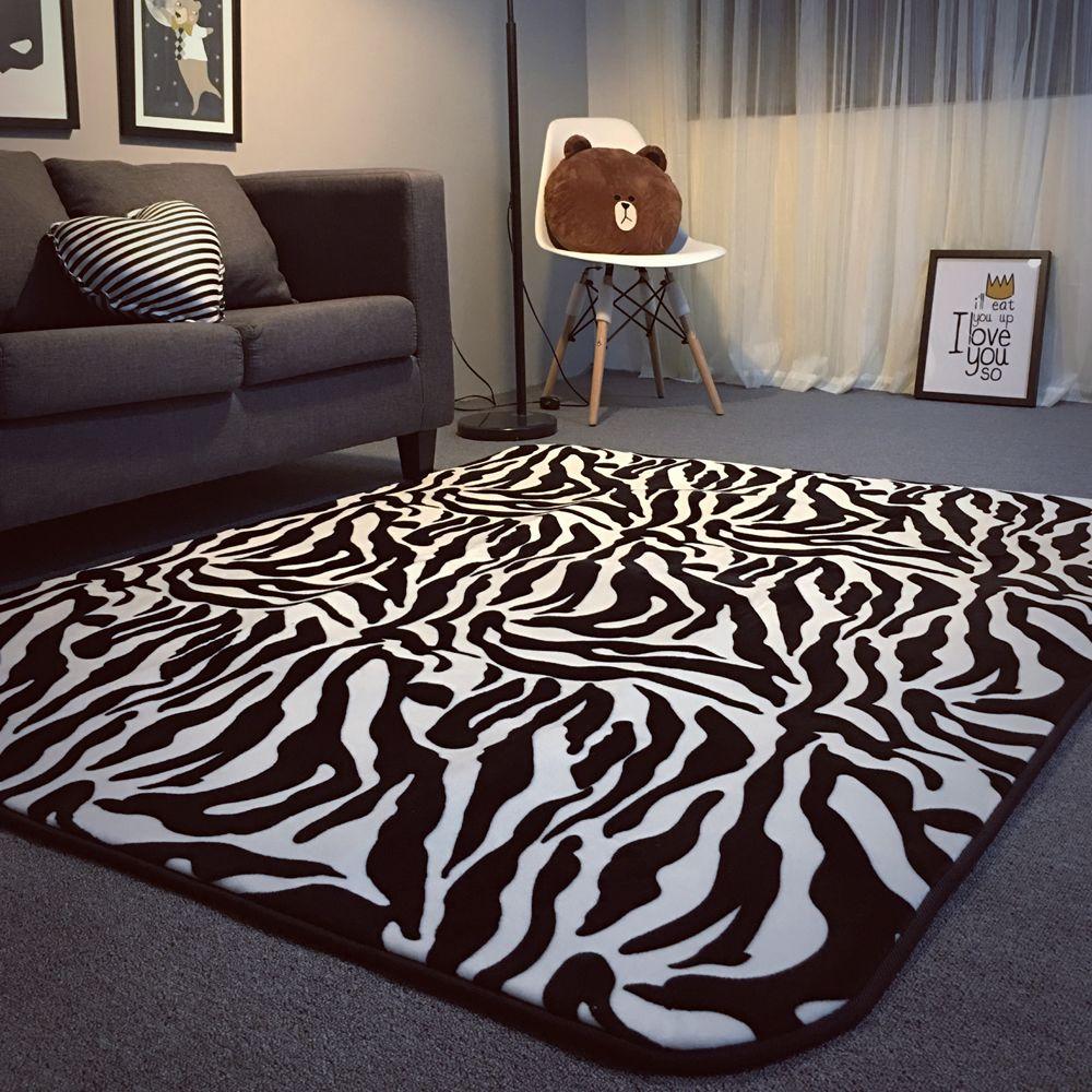 Black And White Zebras Striped Carpet Bedroom Living Room Floor Upholstery Mat