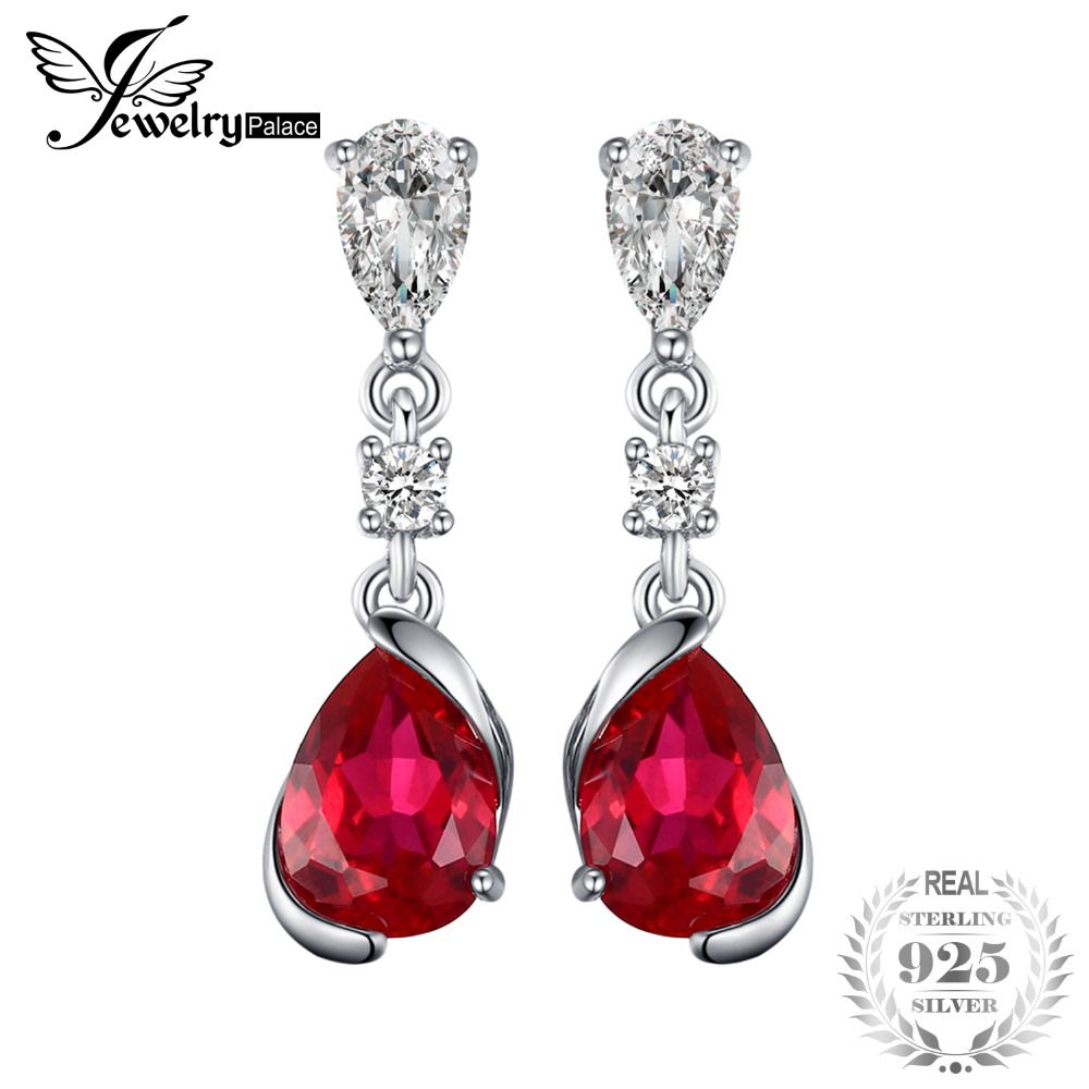 JewelryPalace 2.4ct Pear Red Created Ruby Drop Earrings 925 Sterling Silver New Fashion Earrings For Women Wedding Jewelry