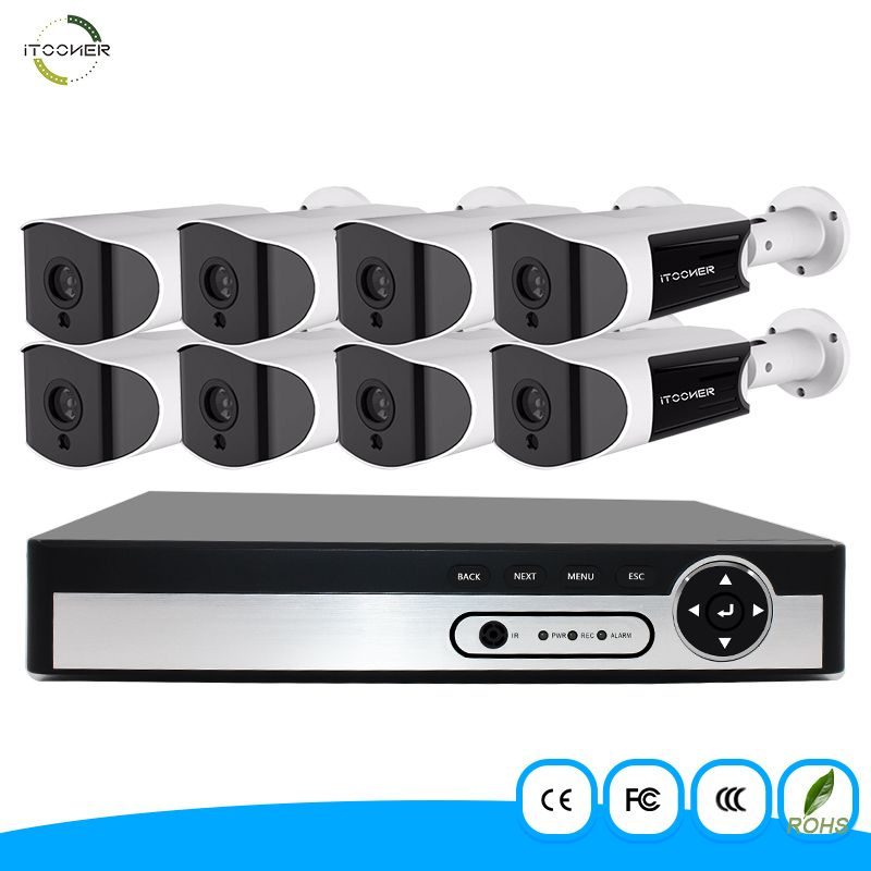 H265 NVR System HDMI&VGA 8PCS ONVIF Waterproof IP66 Outdoor Bullet IP Camera 5MP Night/day Security Surveillance NVR Kits