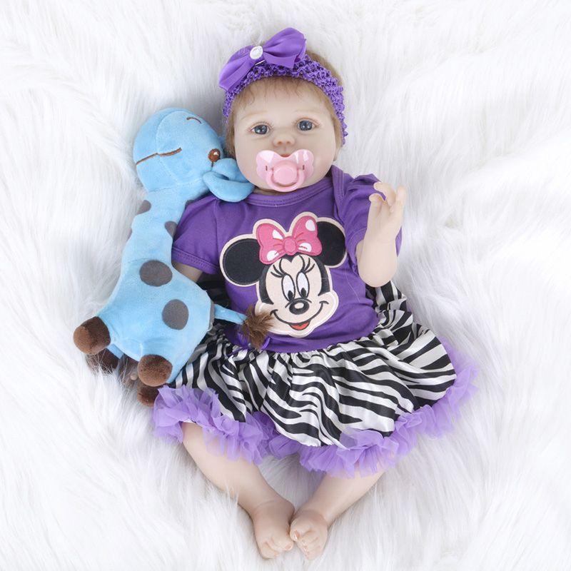 Lovely Doll Reborn American Airl Purple Dress with Animal Stuff Doll Toys Gifts for Kids Girl Birthday Gift SB5540 Boneca-reborn
