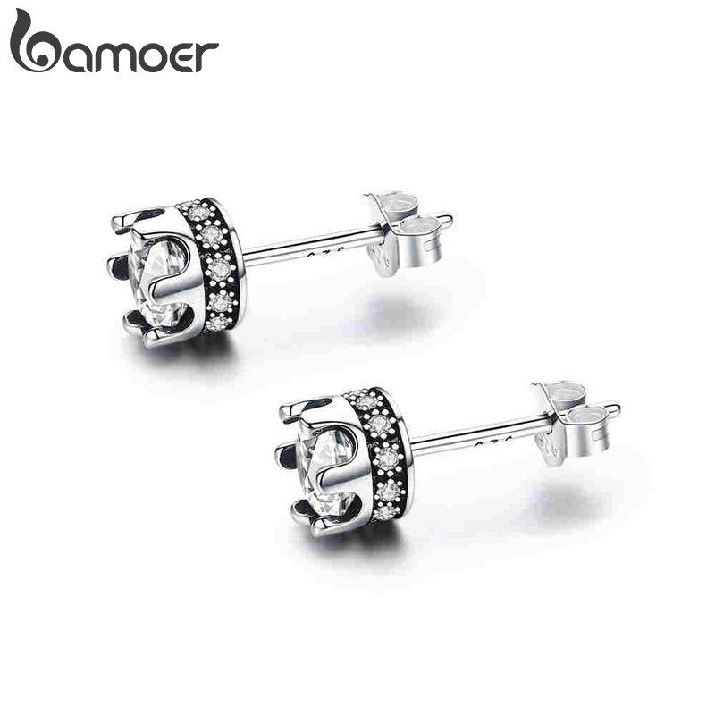 BAMOER Hohe Qualität 100% 925 Sterling Silber Prinzessin Crown Leuchtenden Klaren CZ Stud Ohrringe für Frauen Mode Schmuck SCE311