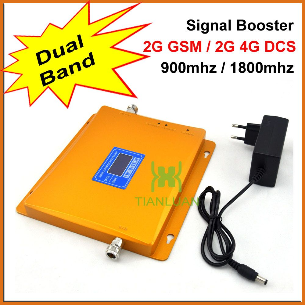 LCD Display!!! GSM 900 Mhz DCS 1800 MHz Dual-band-signalverstärker 2G 4G GSM DCS Handysignalverstärker mit Netzteil