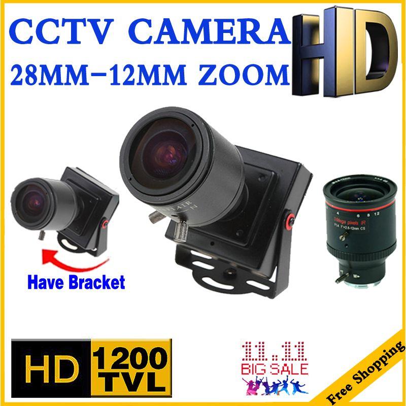 3.28 Mini Zoom Camera 2.8mm-12mm 1200TVL HD Zoom Manual focusing Djustable Lens Metal security surveillance vidicon Micro video