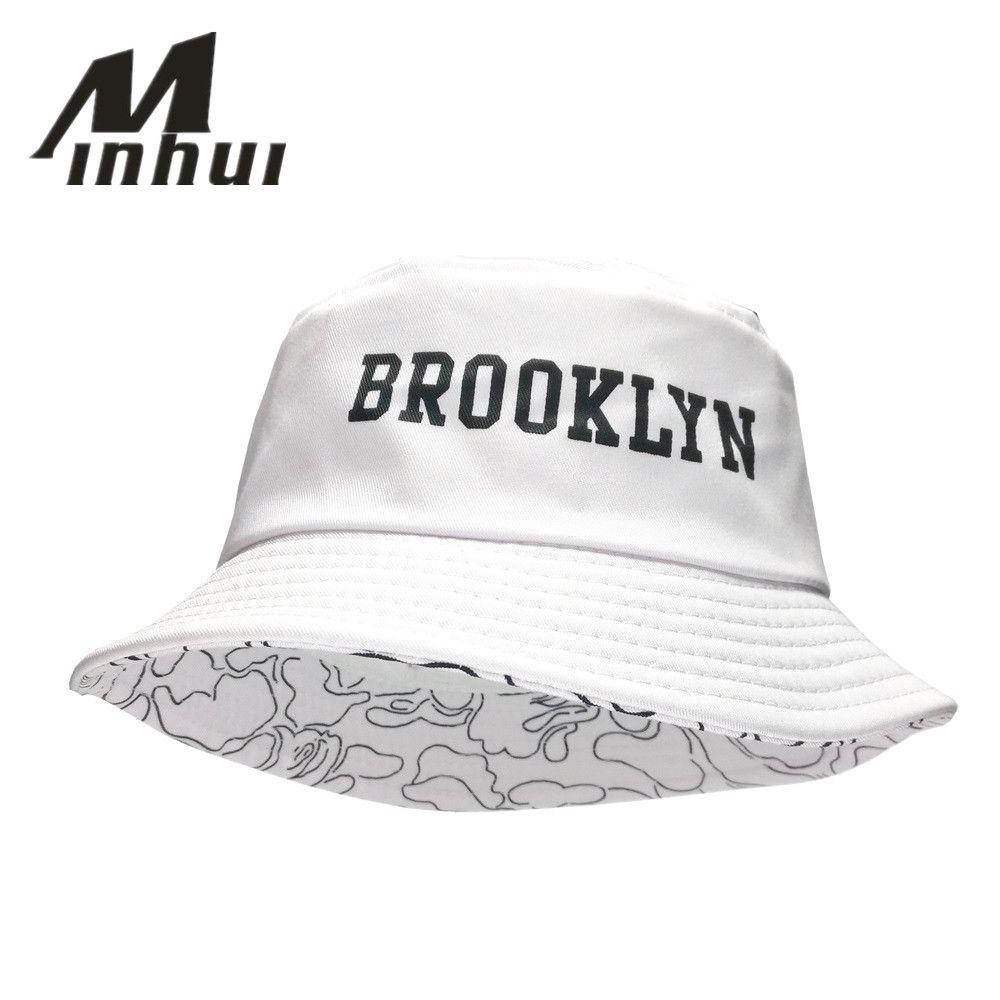 Minhui 2016 nouvelle mode BROOKLIN seau chapeau blanc Panama casquette de pêche hommes et femmes Bob pêcheur chapeaux casquettes