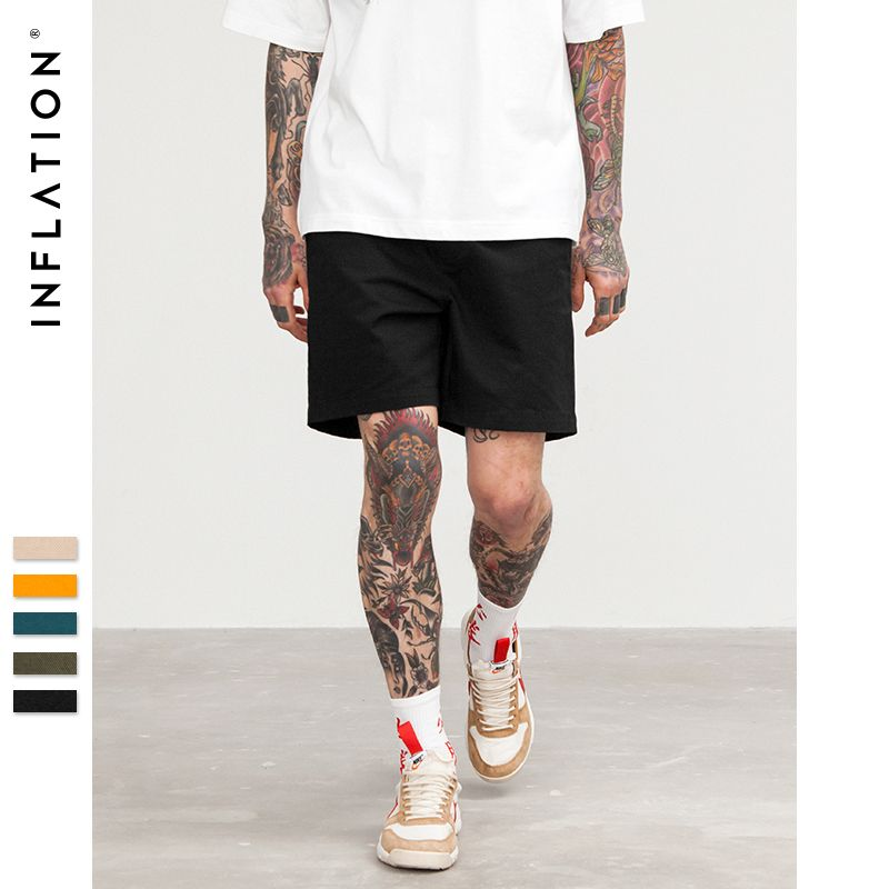 INFLATION 2018 Summer New Casual Shorts Men Cotton Sim Fit Solid Knee length High Quality Shorts 5 Colour Pick Pure Short 8416S
