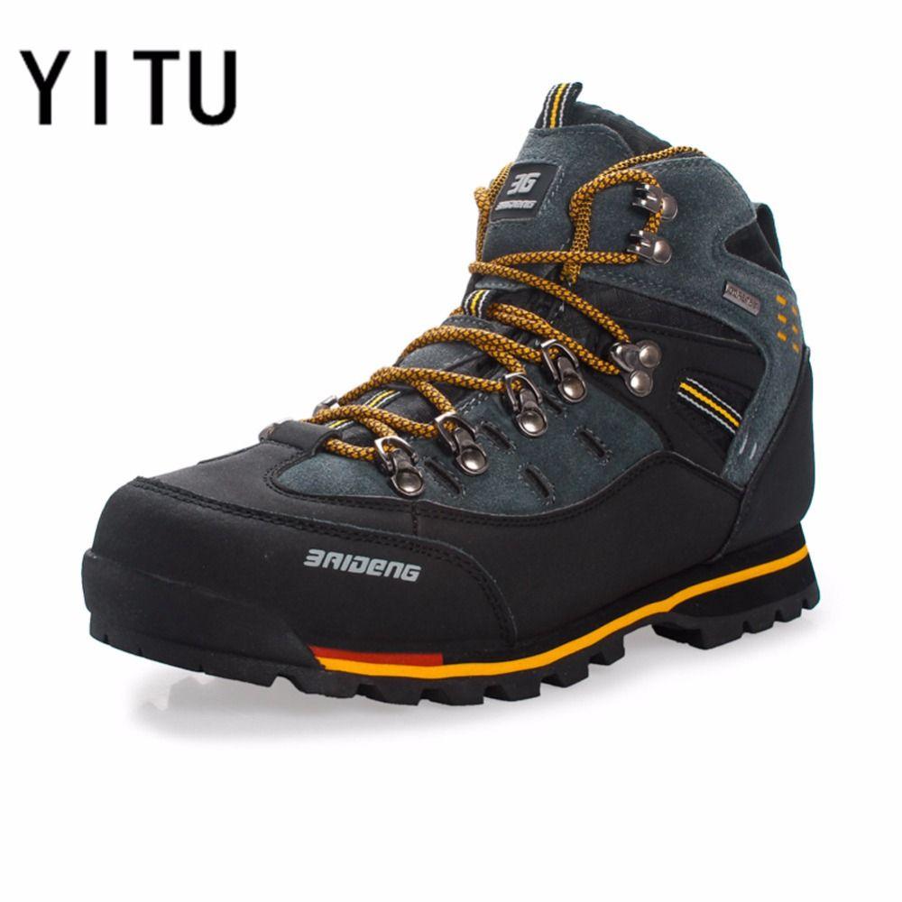 YITU Breathable Outdoor Hiking Shoes Camping Mountain Climbing Hiking Boots Men Waterproof Sport Fishing Boots Trekking <font><b>Sneakers</b></font>