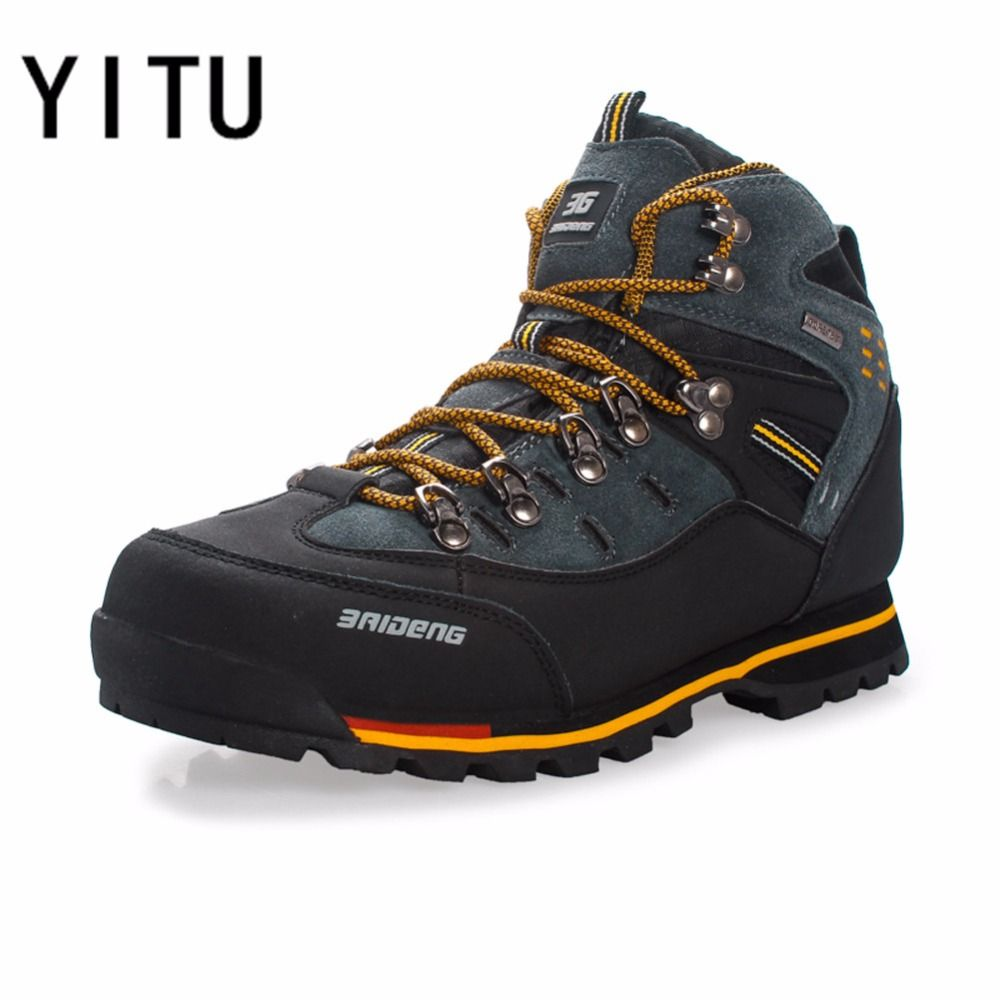 YITU Breathable Outdoor Hiking Shoes Camping <font><b>Mountain</b></font> Climbing Hiking Boots Men Waterproof Sport Fishing Boots Trekking Sneakers