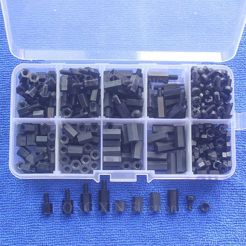 300 pcs M3 Nylon Vis Noir Hex Vis Écrou Spacer Stand-off Longueur Variée Assortiment Kit Boîte