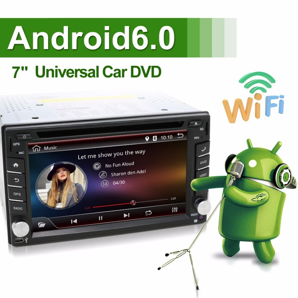 Universal 2 din Android 6.0 Car DVD Player GPS+Wifi+Bluetooth+Radio+Quad 4 Core CPU+DDR3+Capacitive Touch Screen+3G+Car PC+Audio