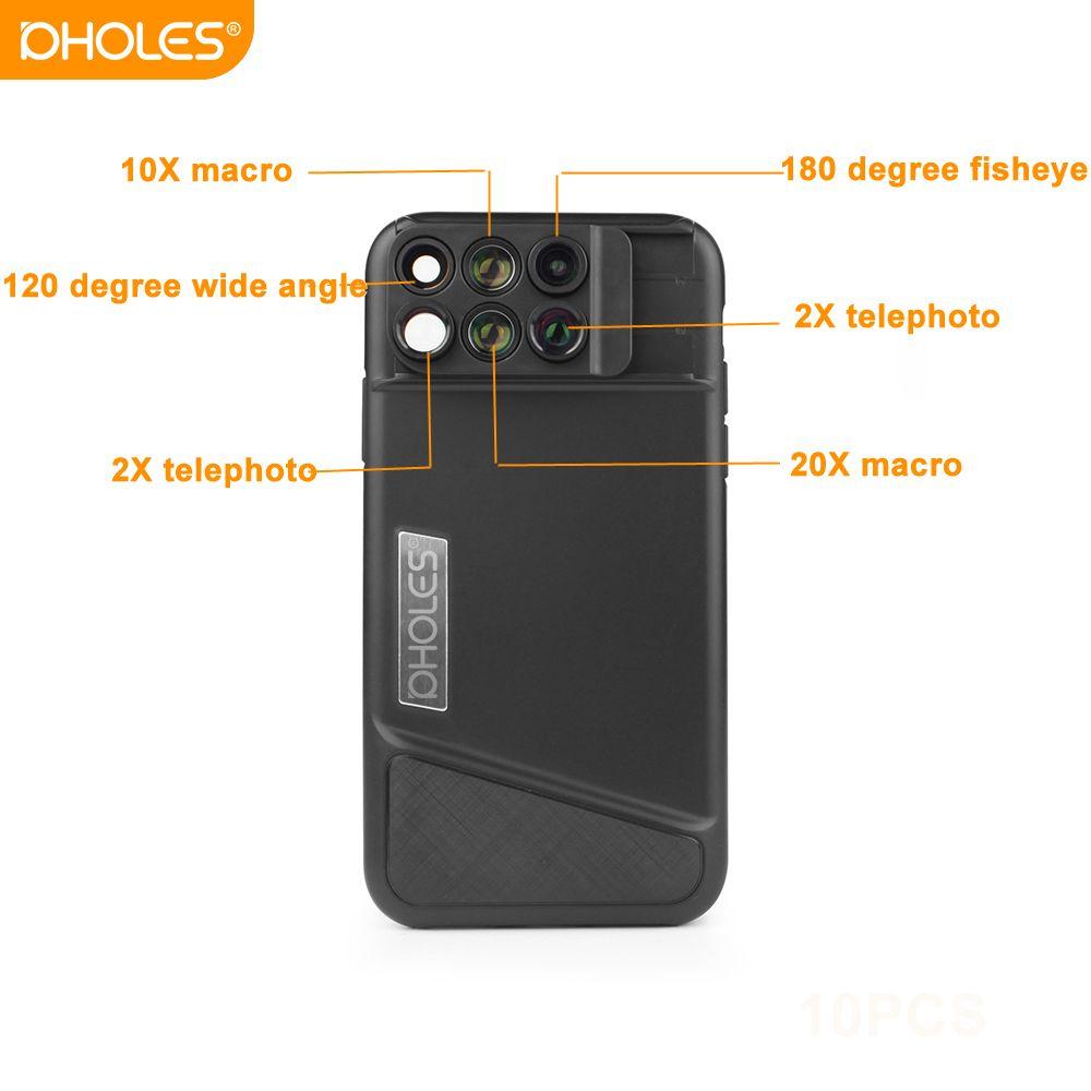 PHOLES pour iPhone X XR Cas 6 Téléphone Lentille Avec Fisheye Large-angle Lentille Téléobjectif Macro Lentille 6 dans 1 lentilles TPU Couverture Amovible