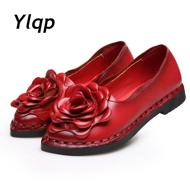2017 Новинка винтажный стиль ручная работа фольклорный стиль женские туфли на низком каблуке повседневные туфли из натуральной кожи женские ...