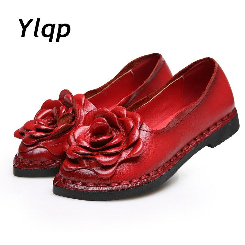 2017 New Vintage Handmade Folk Style Women Flats Casual Shoes Genuine Leather Lady Soft Bottom Shoes for Mother Fashion Loafers