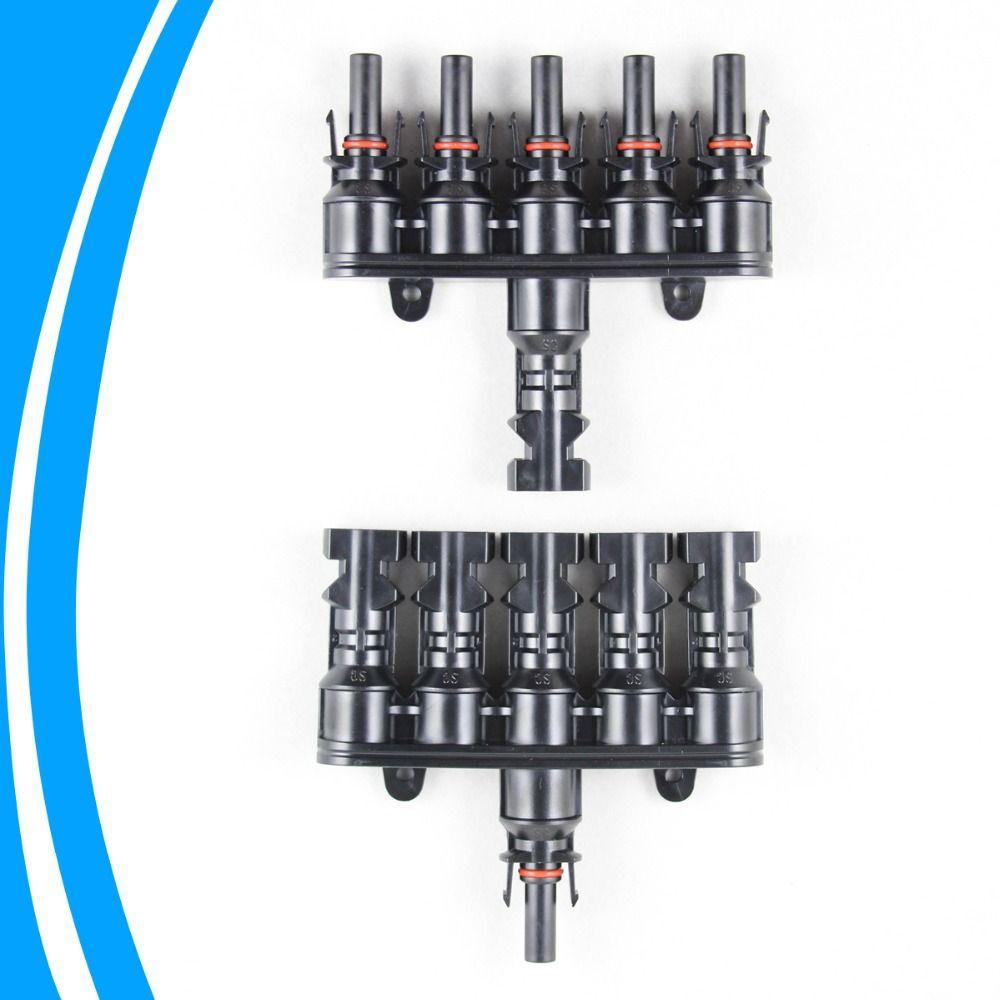 1 pair M/FM Solar Panel MC4 5 to 1 T Branch 30A Solar Panel Connector Cable Coupler Combiner MC4 Panel Cable Connectors