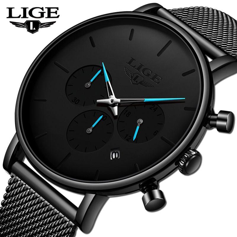 Relogio Masculino LIGE Mens Business Dress Watches Luxury Casual Waterproof Sports Watch Men Fashion Dial Quartz Slim Mesh Watch