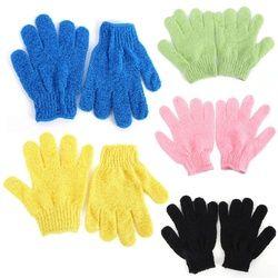 1 Pair Shower Bath Gloves Exfoliating Wash Skin Spa Massage Scrub Body Scrubber Glove 9 Colors (Random Color)