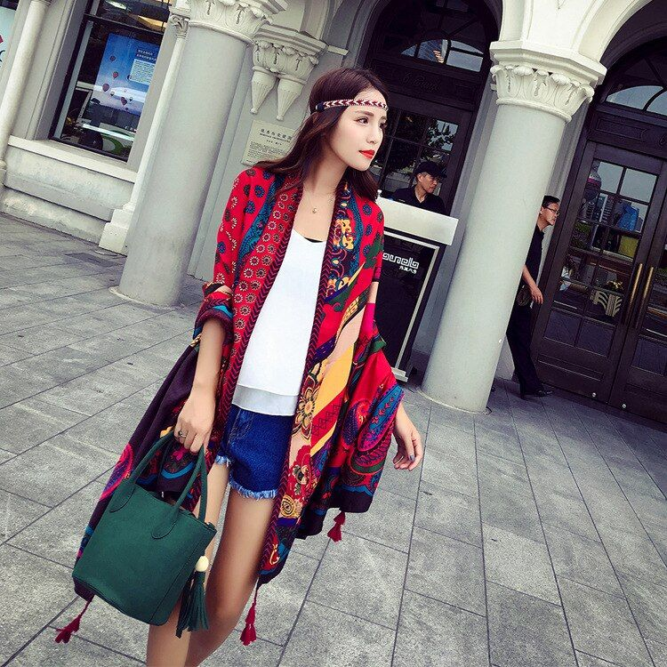 KYQIAO España estilo de boho Bohemia bufanda de 2017 mujeres del resorte del otoño estampado geométrico de diseño largo rojo regalos de cumpleaños de la bufanda del cabo