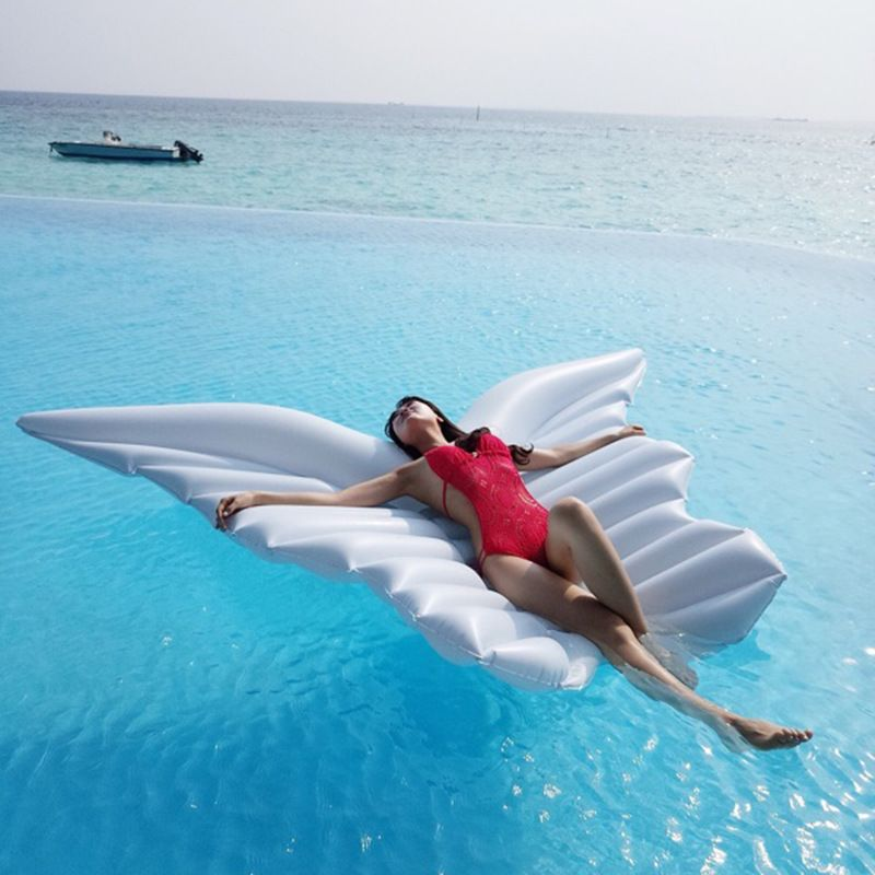 Giant Inflatable Angel Wings Water Bed Floating Row Beach Fun Inflatable Pool Toys White Swimming Ring Air Mattress Sunbath Mat