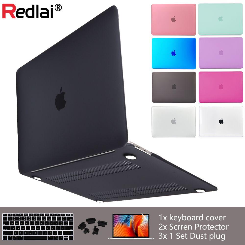 Redlai luxe nouveau étui pour macbook Air mat 11 13 pouces pour Mac Book Pro 13 15 Retina Touch Bar avec couvercle de clavier + bouchon anti-poussière