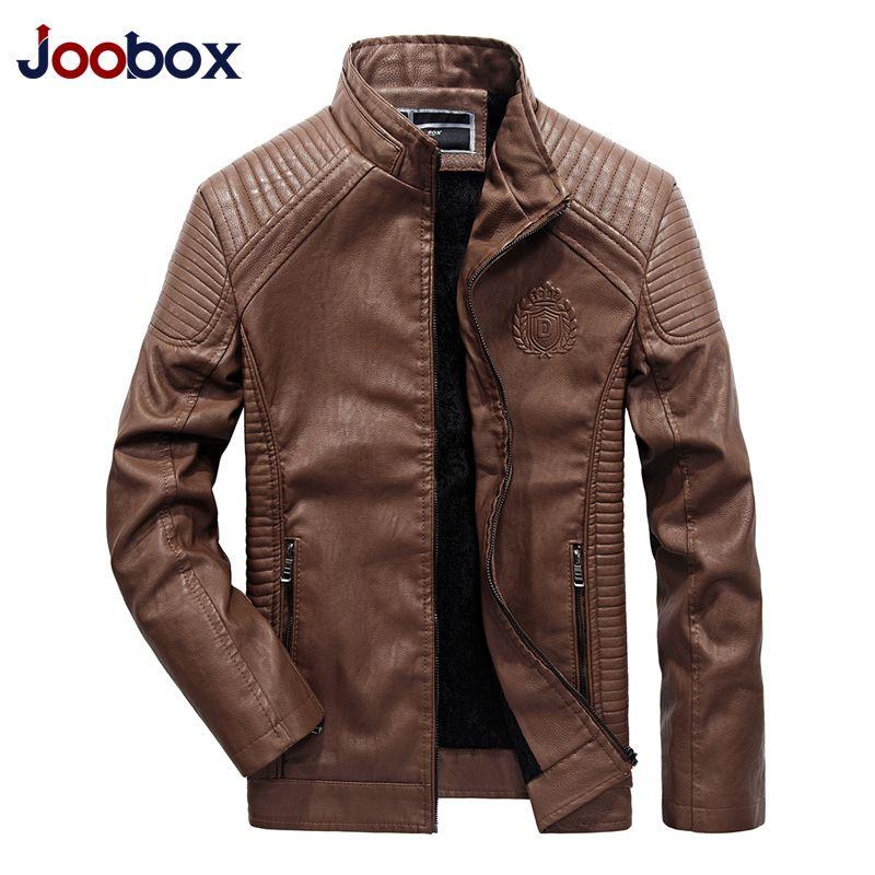 JOOBOX Brand 2018 Autumn Winter Best Selling Fashion PU Faux Leather Jacket Men <font><b>Good</b></font> Quality Casual Slim Mens Warm Jacket Coat