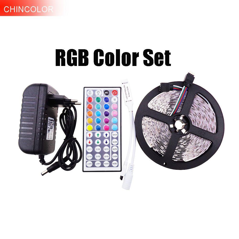 Bande LED 5050 set 5 m 300Led ip20 SMD Lumière DC12V RVB avec 44Key Contrôleur RVB et 3A Adaptateur secteur rouge ww bleu blanc JQ