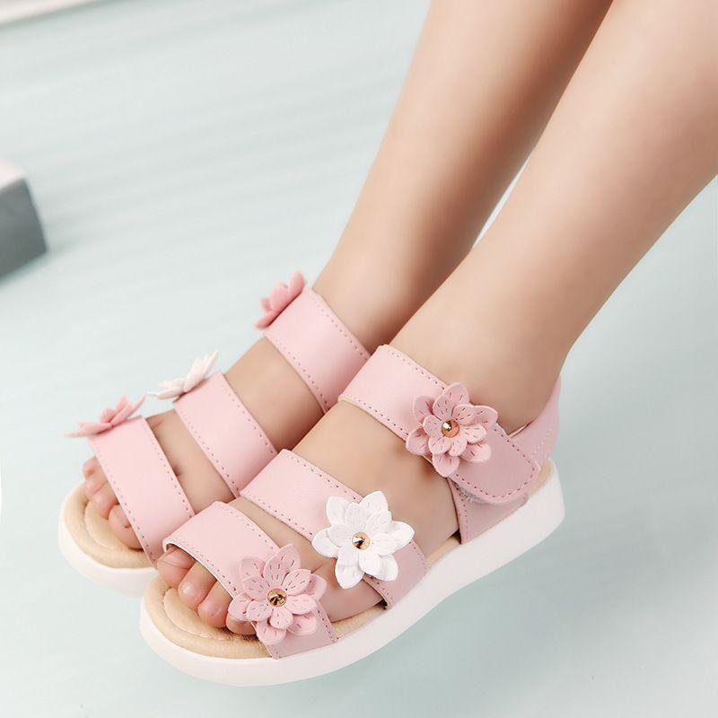 COZULMA été Style enfants sandales filles princesse belle fleur chaussures enfants sandales plates bébé filles chaussures romaines