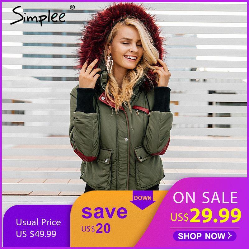 Simplee Haube padded parka winter jacke frauen mantel Pelz warme tasche zipper winter mantel Schnee tragen dicke jacke mantel weibliche