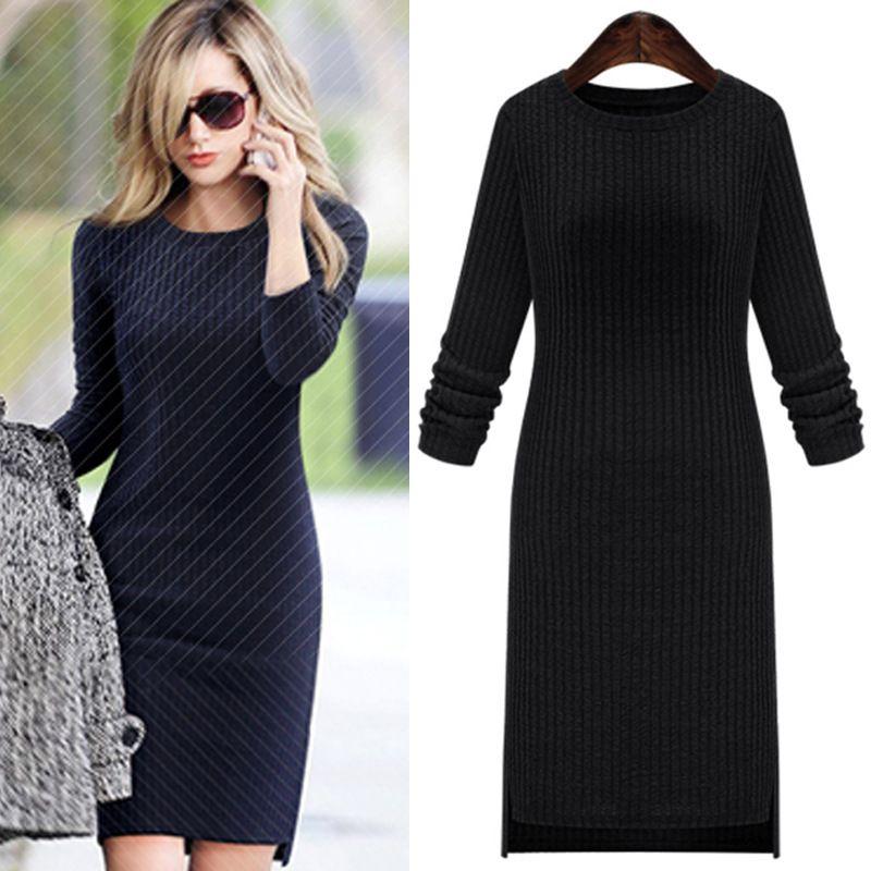 Automne tricot plus la taille des femmes robes nouvelle Europe et Amérique asymétrique col rond à manches longues bandage robe Femme 2016