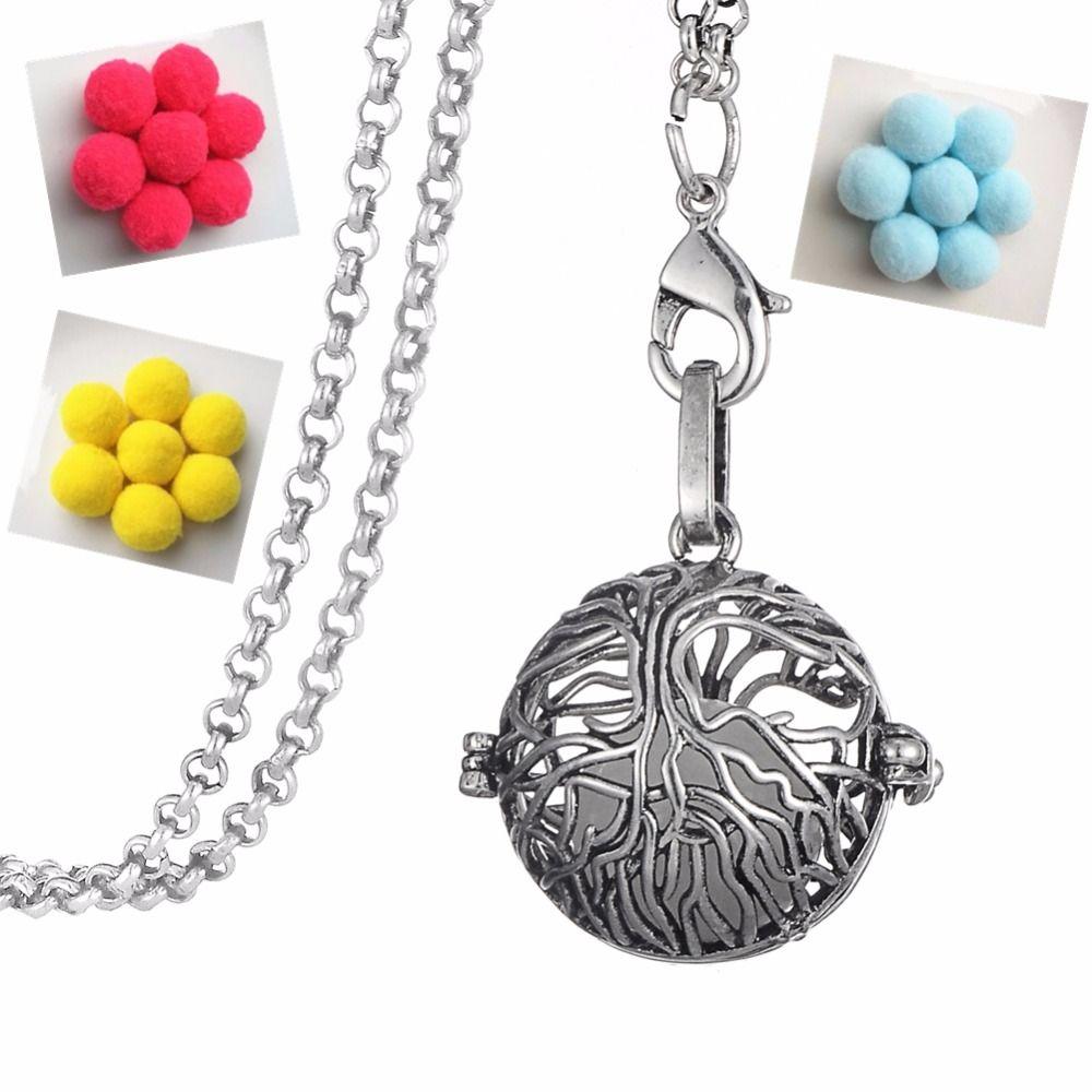 Dawapara Tree of Life Talismanes y Amuletos de Metal Encantos del Colgante de Collar de Aromaterapia Difusor de Aroma para Hombres y Mujeres