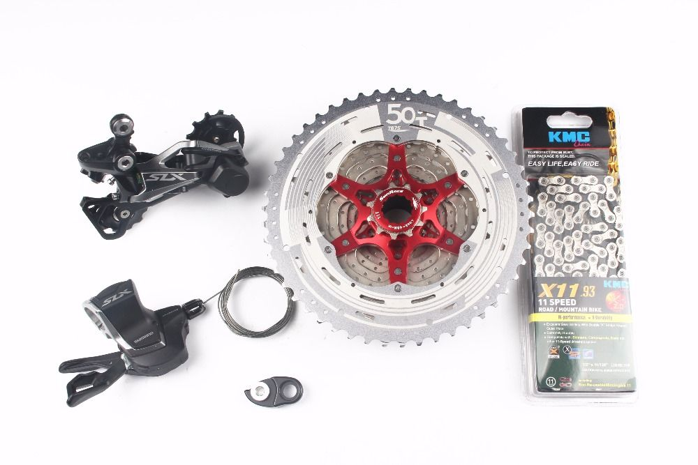 Shimano SLX M7000 4pcs Bike Bicycle MTB 11 Speed Kit Groupset Shifter+ SunRace cassette 11-46T 11-50T+ Adapter+ KMC chain