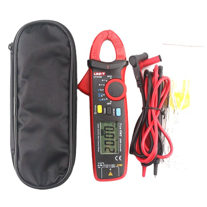 UNI-T UT210D Digital Clamp Multimeter Tester 200A Auto Range AC/DC Voltmeter Ammeter Resistance Capacitance C/F Thermometer