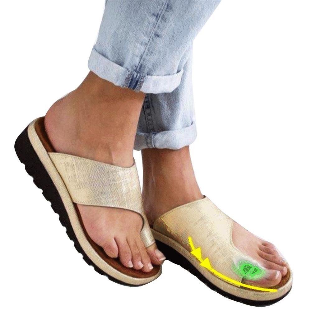 Femmes PU cuir chaussures confortable plate-forme plate semelle dames décontracté doux grand orteil Correction des pieds sandale orthopédique Bunion correcteur