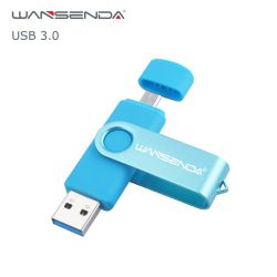 WANSENDA OTG USB 3.0 USB Flash drives Pen Drive for Android/PC 8GB 16GB 32GB 64GB 128GB 256GB External Storage 2 in 1 Pendrive