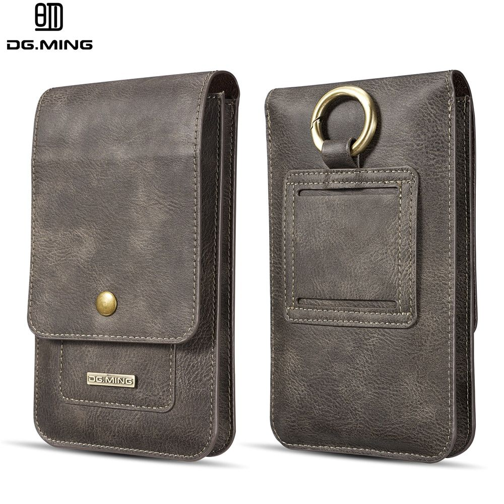 DG Ming Genuine Leather 2 Phone Bags Purse Wallet Cover Pouch For Nokia/Samsung/LG/Huawei Xiaomi Lenovo Universal Below 6.7inch