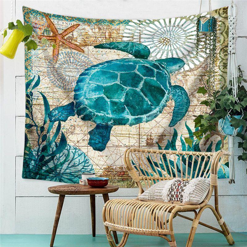 Turtle Tapestry Ocean Style Oil Printing Decorative Mandala Tapestry Beach Cover Boho Wall Carpet Yoga Picnic Mat Beach Towel