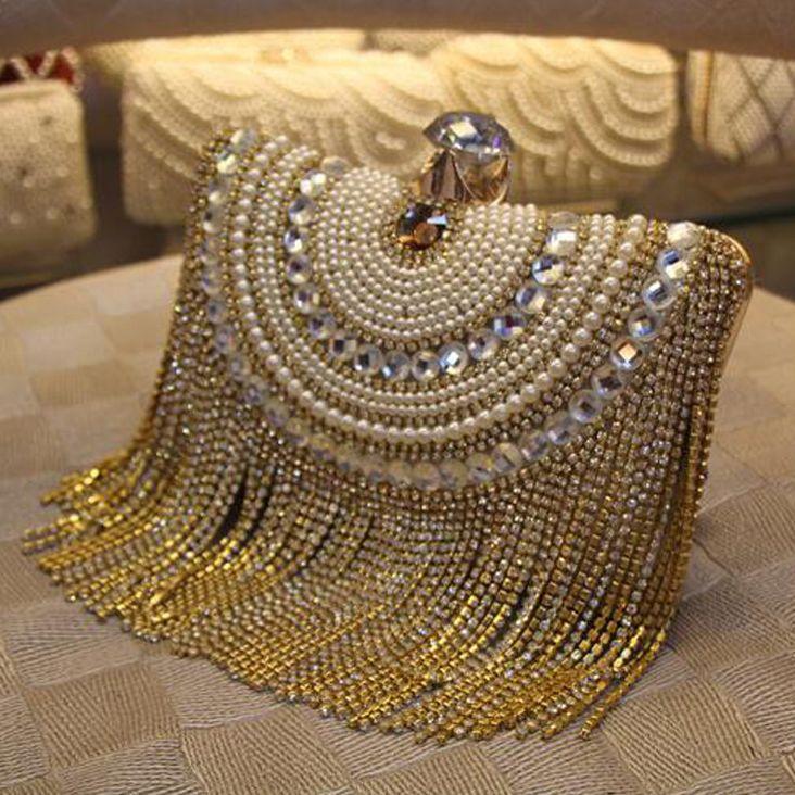 Strass Gland D'embrayage Diamants Perlée Métal Soirée Sacs Chaîne Épaule Messenger Sac À Main de Soirée Sacs Pour Le Mariage Sac