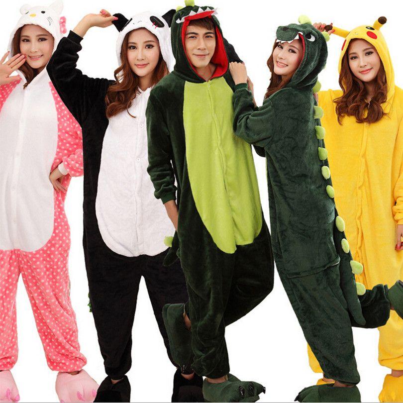 Adult Men Women Pajama Set Cartoon Pajamas Animal Halloween Hooded Coral Fleece Sleepwear Unicorn Panda Stitch Dinosaur Pikachu
