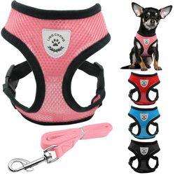 Nuevo suave transpirable aire malla de nylon perro perrito perro gato arnés y correa conjunto