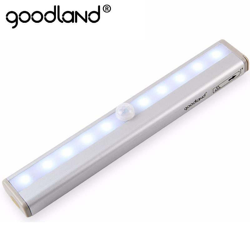 Goodland Motion Sensor LED Night Light 10 LEDs Wireless LED Closet Lights 4* AAA Battery Table Lamp Cabinet Bookcase Light