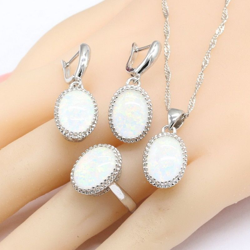 Australia White Opal Stones Silver Color Jewelry Sets For Women Necklace <font><b>Pendant</b></font> Drop Earrings Rings Christmas Gift Free Box