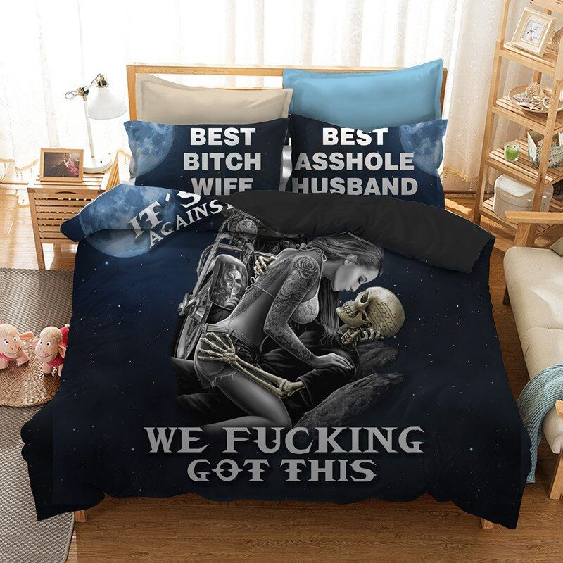 Fanaijia black skull bedding set queen size 3d Couple kissing skull printed duvet Cover With Pillowcases Bed bedline